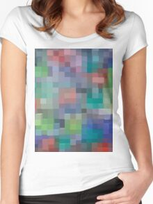 Abstract pixel pattern Women's Fitted Scoop T-Shirt