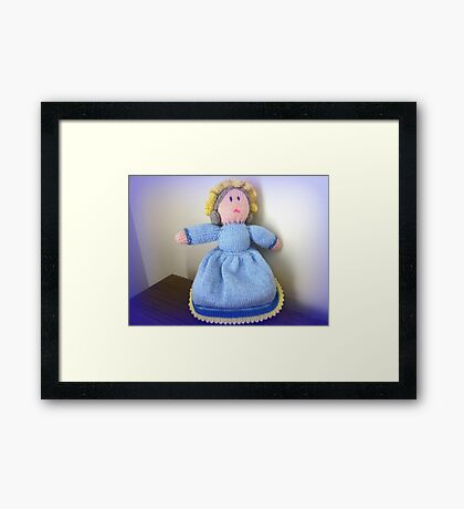 Hand Made knitted Doll  Framed Print