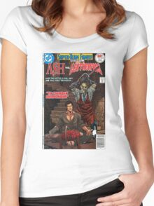 ASH LEATHER FACE EVIL DEAD Women's Fitted Scoop T-Shirt