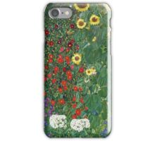 Gustav Klimt - Farm Garden With Flowers - Klimt- Landscape- Garden With Flowers iPhone Case/Skin