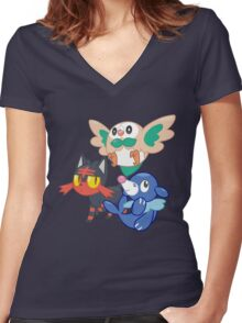 Pokemon Sun and Moon Starters Women's Fitted V-Neck T-Shirt