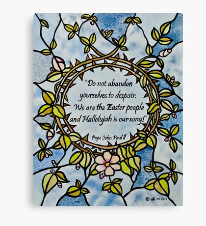 Crown of Thorns by Leslie Berg with Quotation Canvas Print