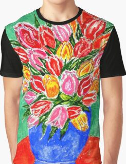 Tulips in a Vase Painting Graphic T-Shirt