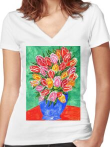 Tulips in a Vase Painting Women's Fitted V-Neck T-Shirt
