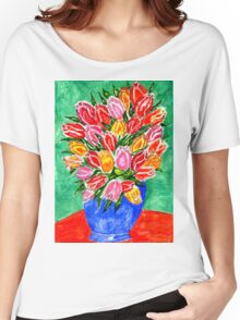 Tulips in a Vase Painting Women's Relaxed Fit T-Shirt