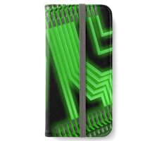 Electronic green circuit board pattern on a black background iPhone Wallet/Case/Skin