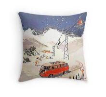 Vintage Samba in the snow Throw Pillow