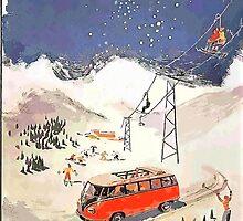 Vintage Samba in the snow by Sharon Poulton
