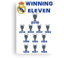 Real Madrid Winning 11 Champions League (A) Canvas Print