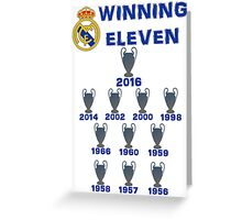 Real Madrid Winning 11 Champions League (A) Greeting Card