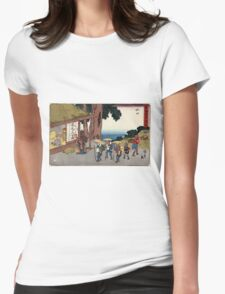 Minakuchi - Hiroshige Ando - 1838 - woodcut Womens Fitted T-Shirt