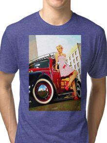 Beetle Pin up Girl Tri-blend T-Shirt