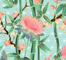 Bamboo, Birds and Blossom - soft blue green Sticker
