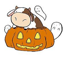 Spooky Halloween Cow Photographic Print