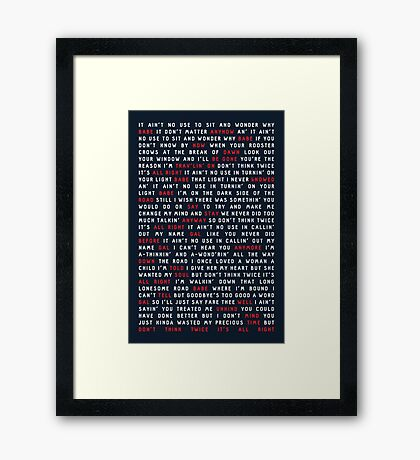 Bob Dylan - Don't Think Twice, It's All Right Framed Print