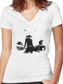 gunslinger Women's Fitted V-Neck T-Shirt