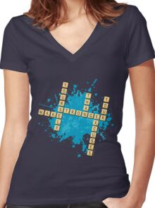Scrabble: Make yourself stronger than your excuses   Hazte más fuerte que tus excusas Women's Fitted V-Neck T-Shirt
