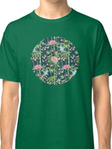Bamboo, Birds and Blossom - dark teal Classic T-Shirt