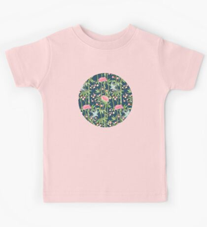 Bamboo, Birds and Blossom - dark teal Kids Tee