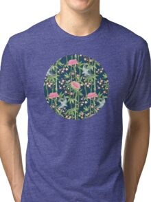 Bamboo, Birds and Blossom - dark teal Tri-blend T-Shirt