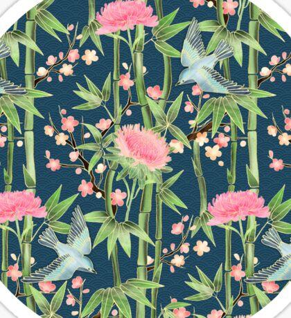 Bamboo, Birds and Blossom - dark teal Sticker