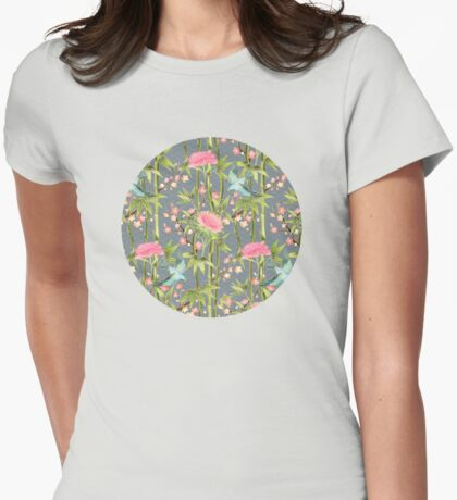 Bamboo, Birds and Blossom - grey Womens Fitted T-Shirt