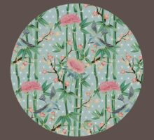Bamboo, Birds and Blossom - soft blue green One Piece - Short Sleeve