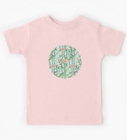 Bamboo, Birds and Blossom - soft blue green Kids Tee