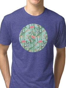 Bamboo, Birds and Blossom - soft blue green Tri-blend T-Shirt