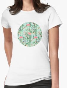 Bamboo, Birds and Blossom - soft blue green Womens T-Shirt