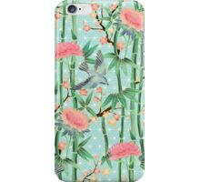 Bamboo, Birds and Blossom - soft blue green iPhone Case/Skin