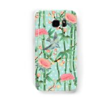 Bamboo, Birds and Blossom - soft blue green Samsung Galaxy Case/Skin