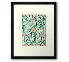 Bamboo, Birds and Blossom - soft blue green Framed Print