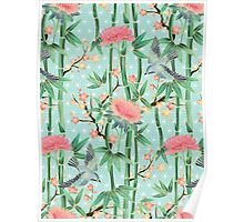 Bamboo, Birds and Blossom - soft blue green Poster