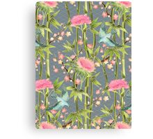Bamboo, Birds and Blossom - grey Canvas Print