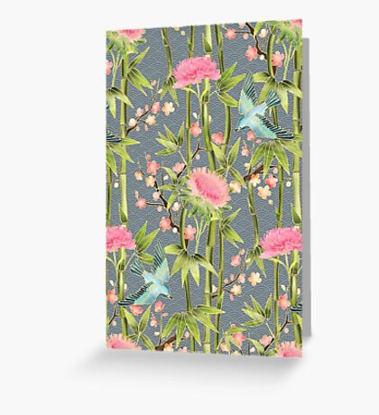 Bamboo, Birds and Blossom - grey Greeting Card