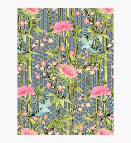 Bamboo, Birds and Blossom - grey Photographic Print