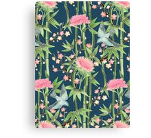 Bamboo, Birds and Blossom - dark teal Canvas Print