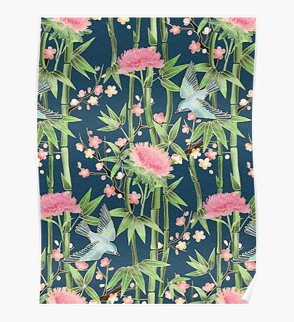 Bamboo, Birds and Blossom - dark teal Poster