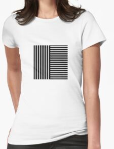 Black and White Stripes Womens Fitted T-Shirt