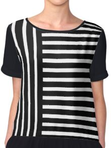 Black and White Stripes Chiffon Top