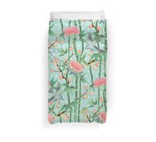 Bamboo, Birds and Blossom - soft blue green Duvet Cover