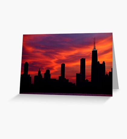 Chicago Skyline Sunset Greeting Card