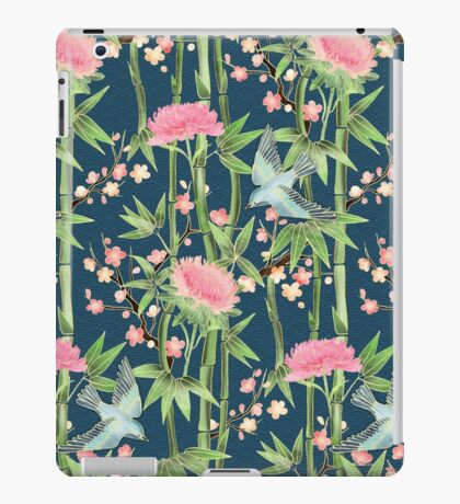 Bamboo, Birds and Blossom - dark teal iPad Case/Skin