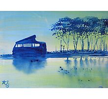 Blue Water Campervan Painting Photographic Print