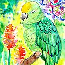 Sleepy Parrot Painting    Watercolor and Ink by Almonda