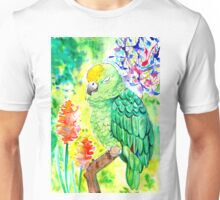 Sleepy Parrot Painting || Watercolor and Ink Unisex T-Shirt