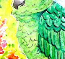 Sleepy Parrot Painting || Watercolor and Ink Sticker