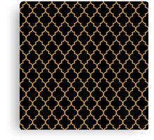 Black Gold Quatrefoil Pattern Canvas Print