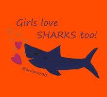 Girls Love Sharks Too! Kids Tee
